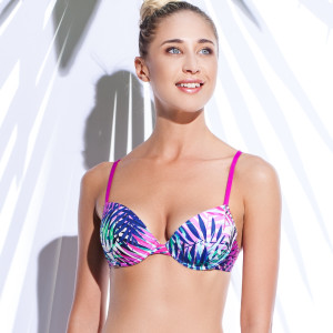 sutien push up baie fuxia imprimat